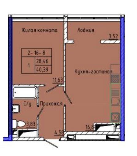 Однокомнатная - ЖК 45 Жемчужина (Сорок пятая)$37490Площадь:40.39m²