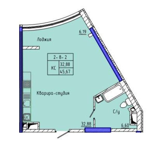 Однокомнатная - ЖК 45 Жемчужина (Сорок пятая)$44090Площадь:45.5m²