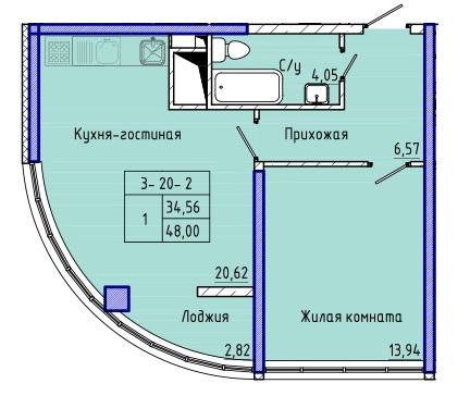 Однокомнатная - ЖК 45 Жемчужина (Сорок пятая)$48960Площадь:48m²