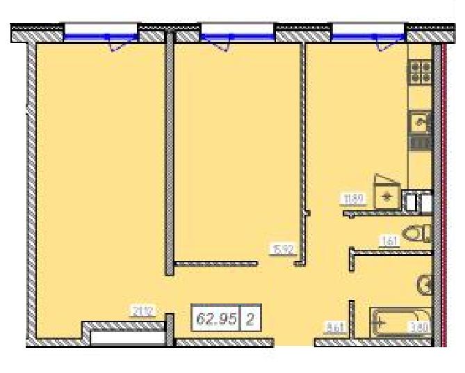 Двухкомнатная - ЖК 46 Жемчужина (Сорок шестая)$37965Площадь:62.95m²