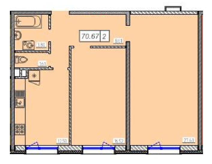Двухкомнатная - ЖК 46 Жемчужина (Сорок шестая)$42621Площадь:70.67m²