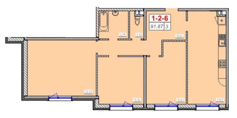 Трехкомнатная - ЖК 46 Жемчужина (Сорок шестая)$49970Площадь:84.26m²