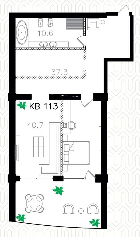 Однокомнатная - ЖК Ланжерон$180000Площадь:99.3m²