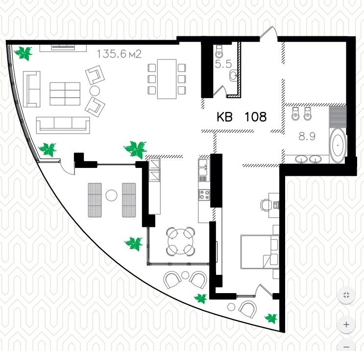 Двухкомнатная - ЖК Ланжерон$280000Площадь:162.4m²