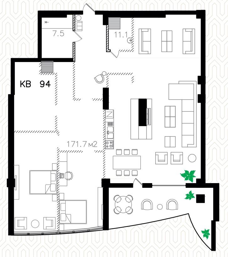 Двухкомнатная - ЖК Ланжерон$290000Площадь:198.4m²