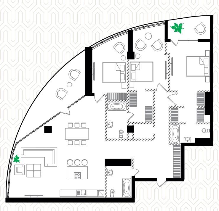 Трехкомнатная - ЖК Ланжерон$320000Площадь:175.4m²