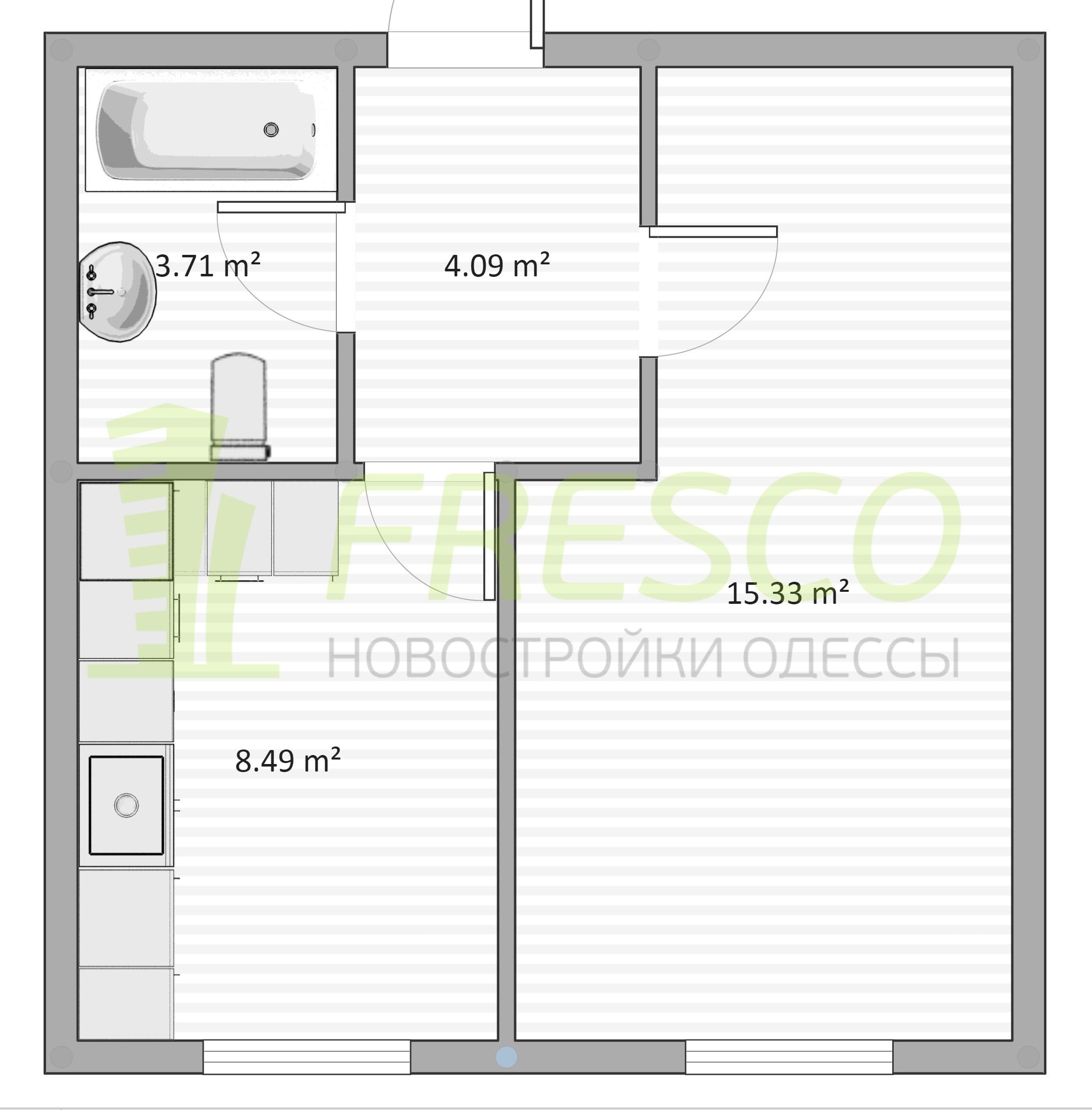 Однокомнатная - ЖК Дом на Ризовской$23250Площадь:31m²