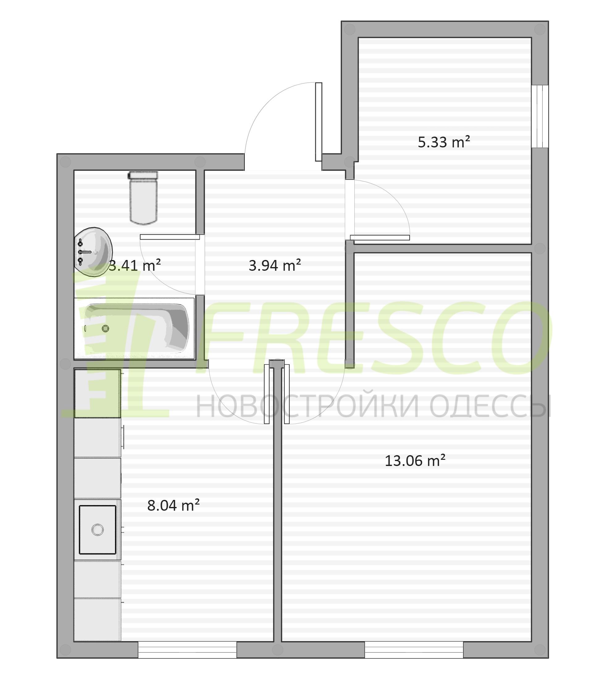Однокомнатная - ЖК Дом на Ризовской$24000Площадь:32m²