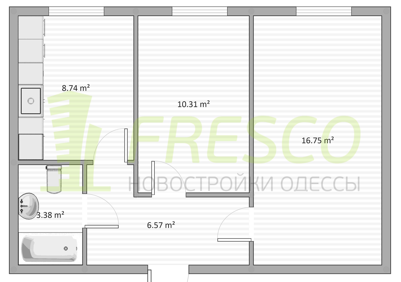 Двухкомнатная - ЖК Дом на Ризовской$35250Площадь:47m²