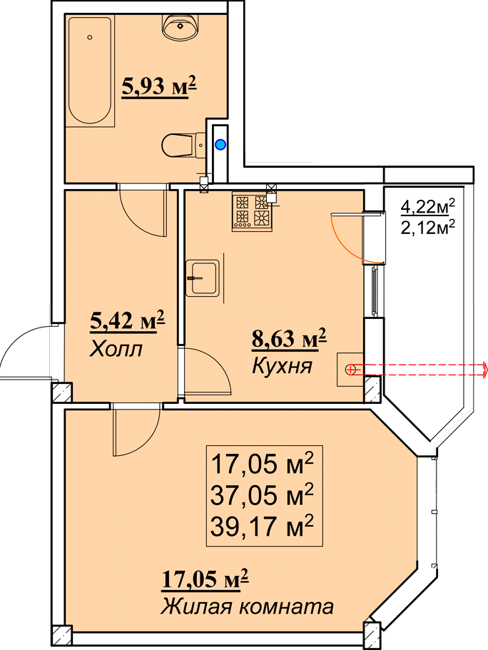 Однокомнатная - ЖК Мариинский$18004Площадь:39.14m²