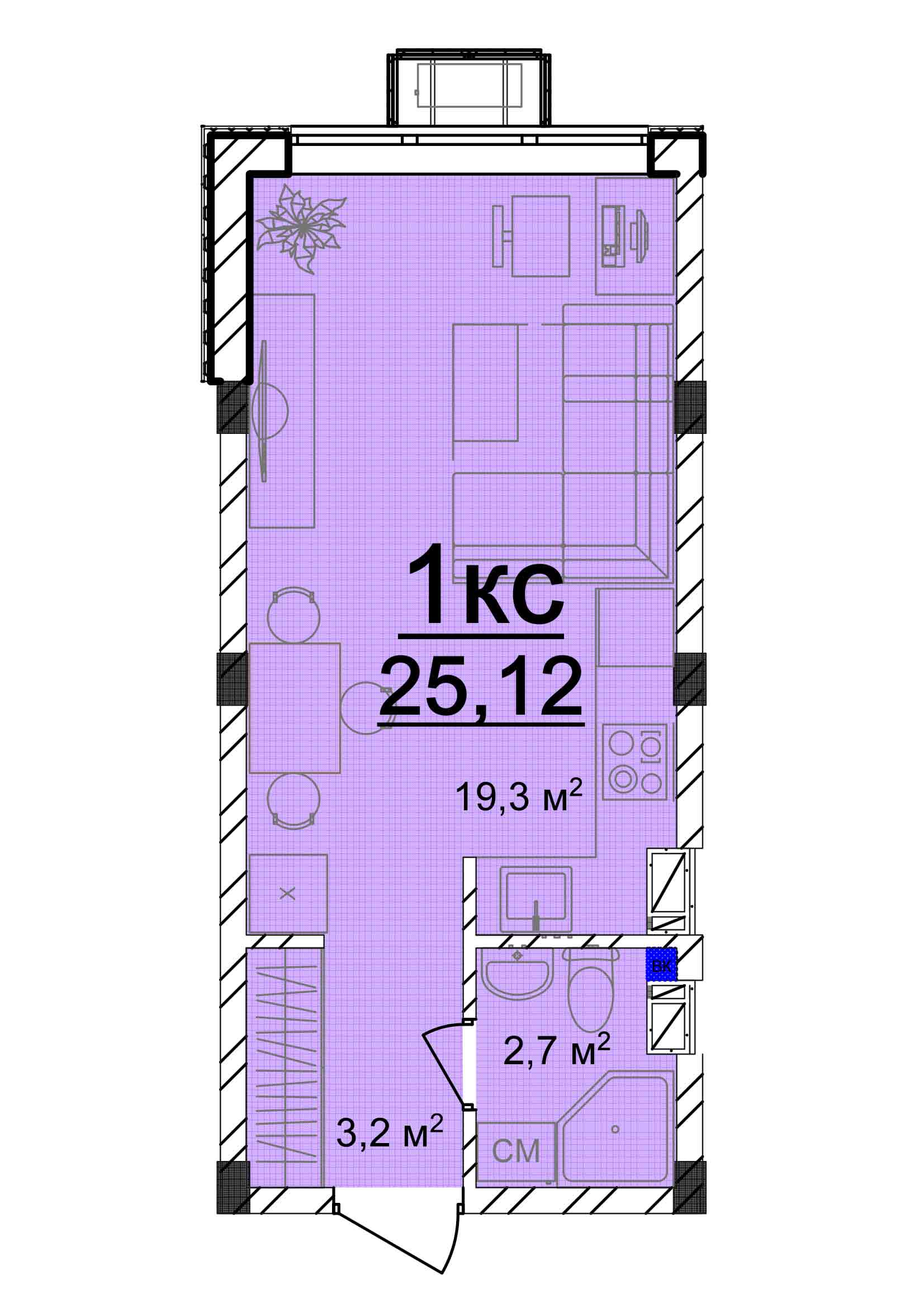 Однокомнатная - ЖК Мариинский$11053Площадь:25.12m²