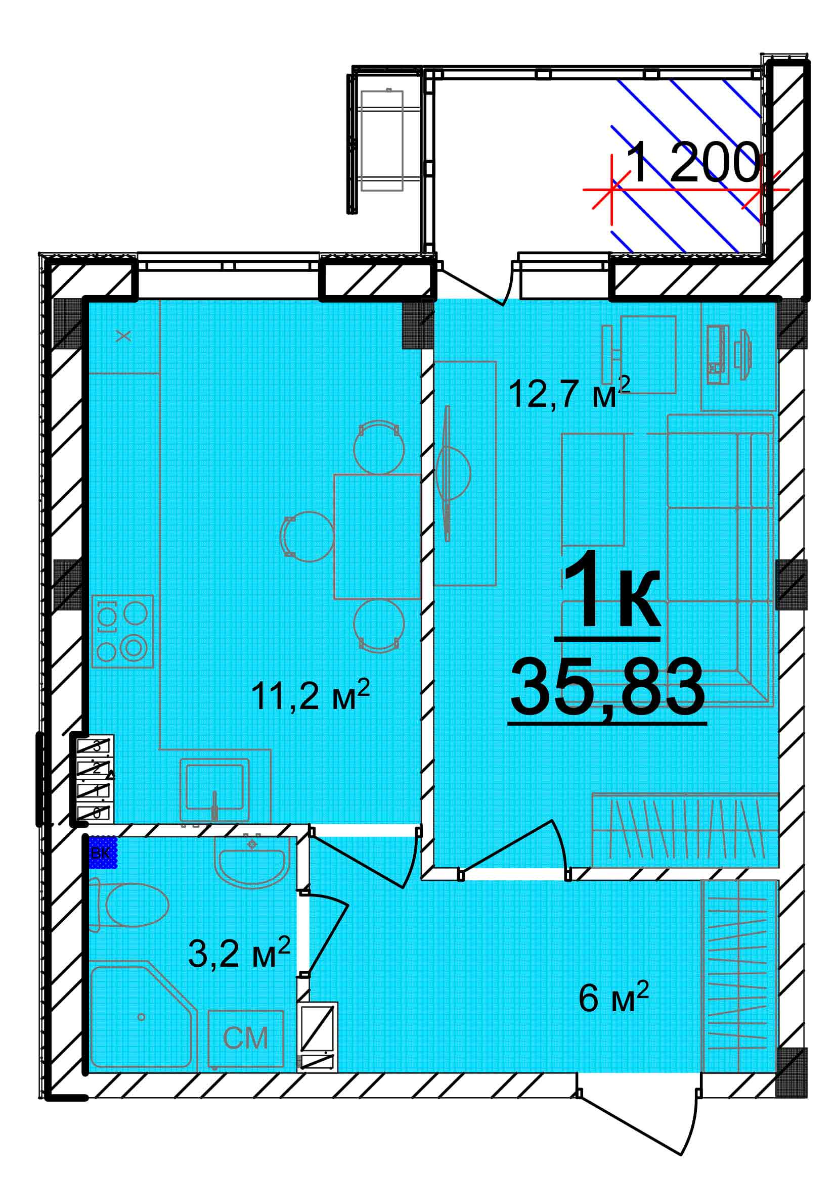 Однокомнатная - ЖК Мариинский$17716Площадь:42.18m²