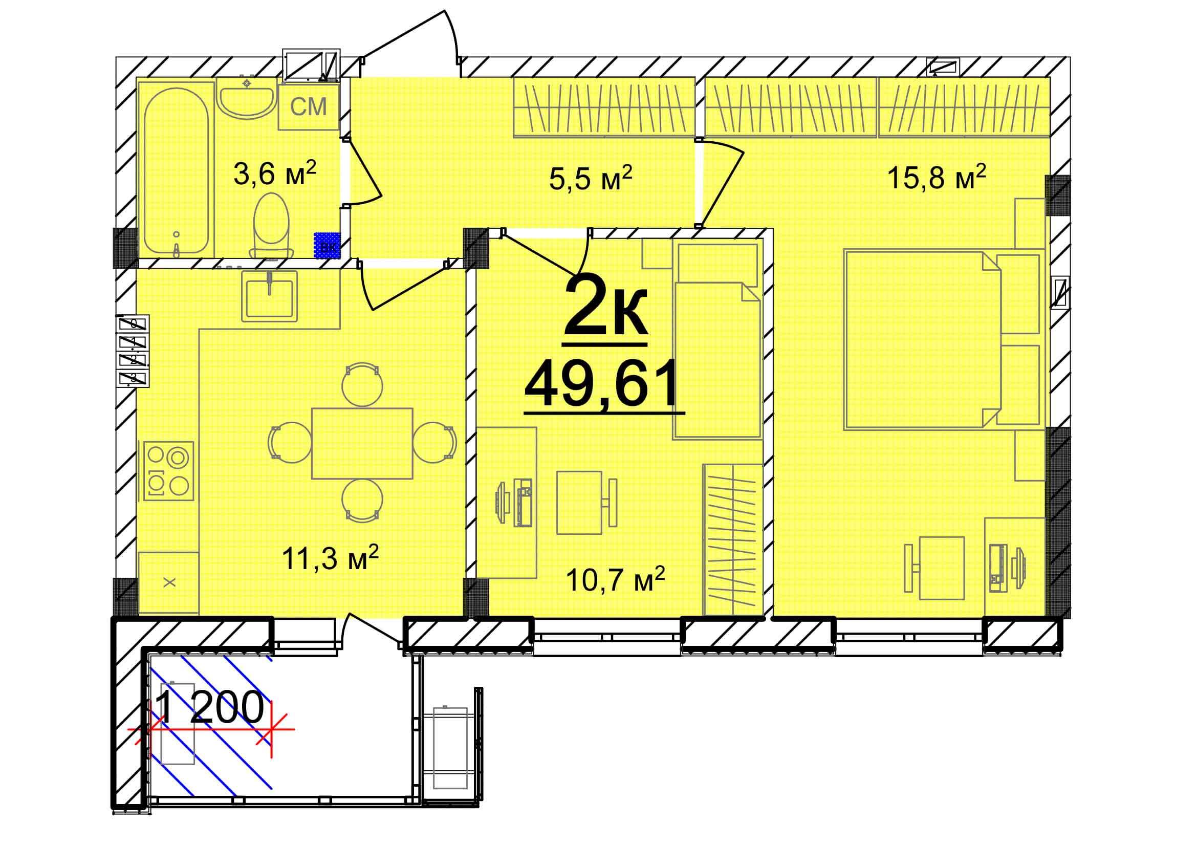 Двухкомнатная - ЖК Мариинский$20340Площадь:49.61m²