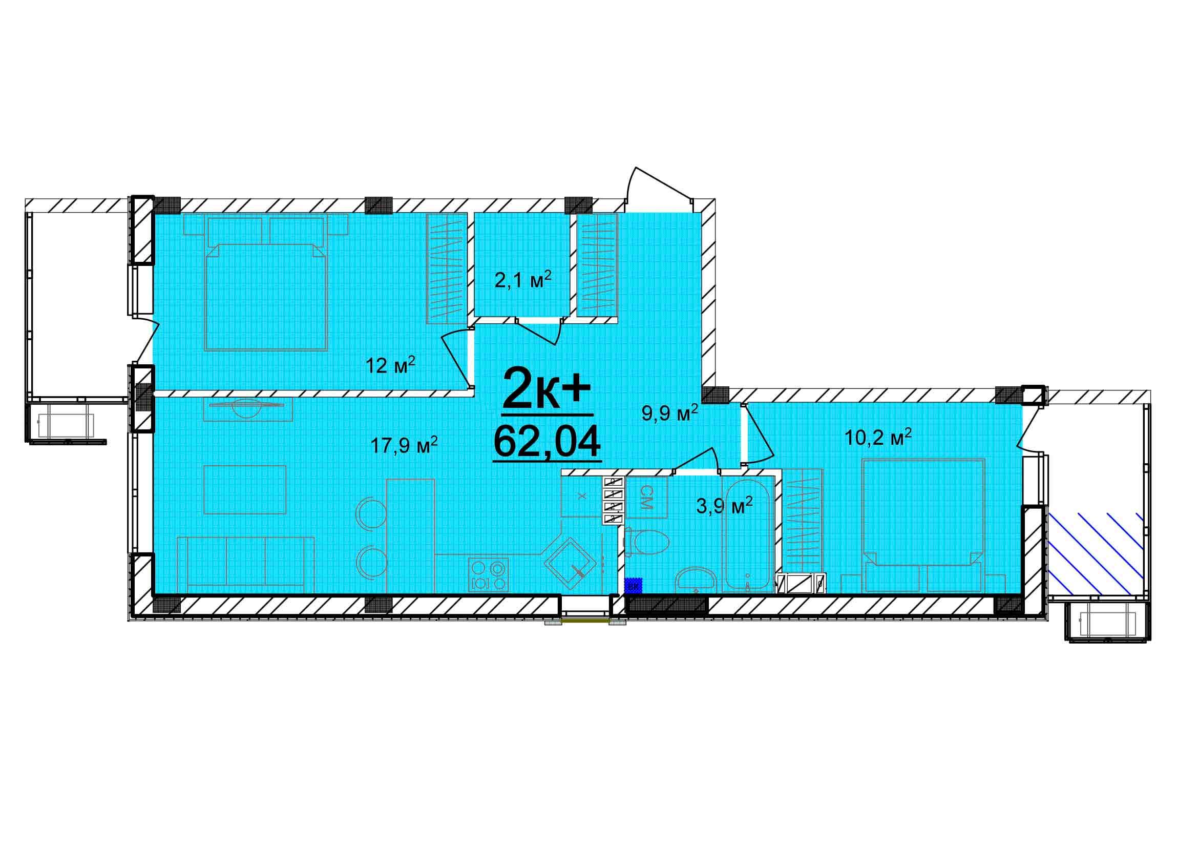 Двухкомнатная - ЖК Мариинский$24816Площадь:62.04m²