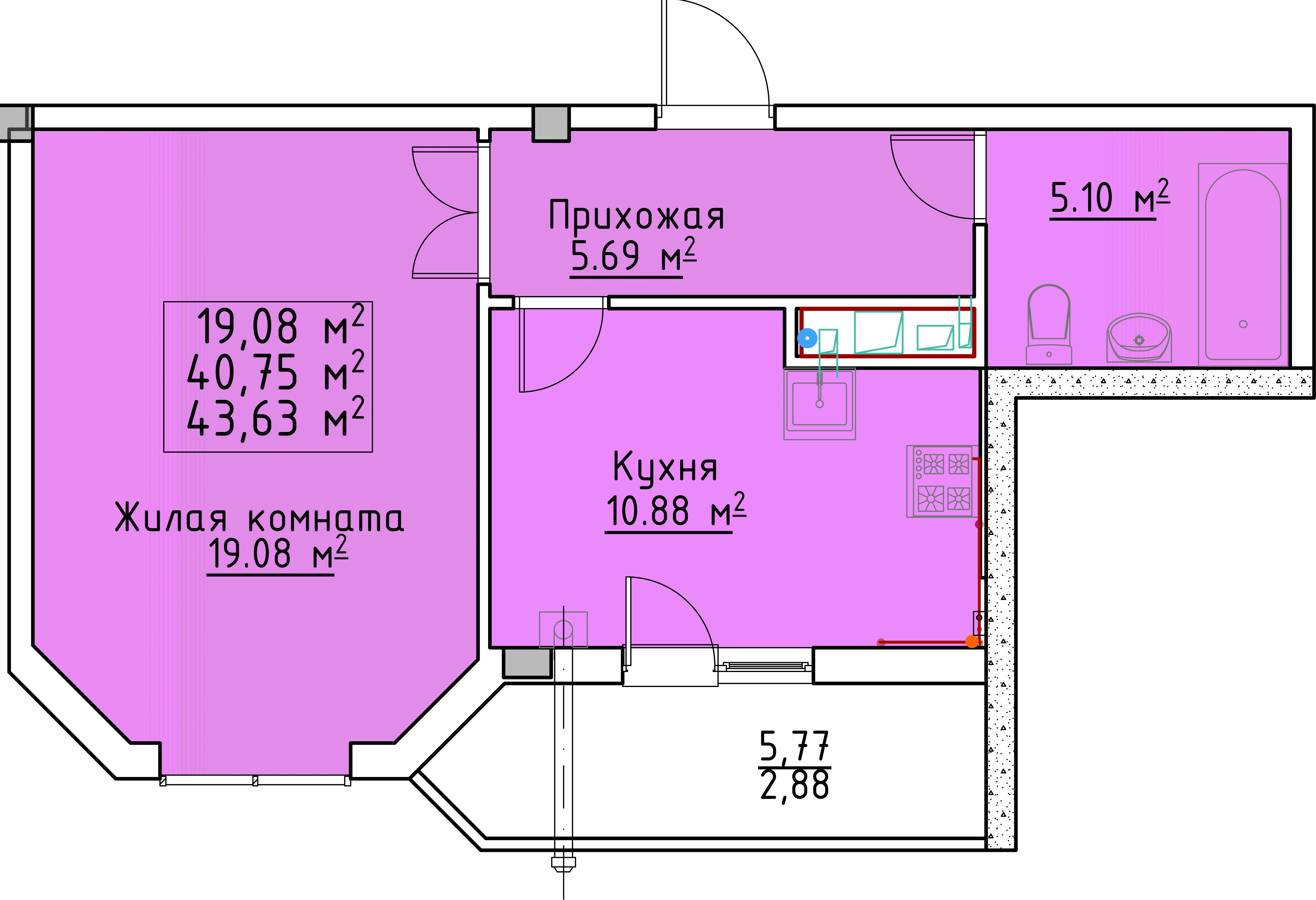 Однокомнатная - ЖК Мариинский$19100Площадь:43.1m²