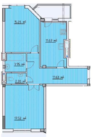 Двухкомнатная - ЖК Мариинский$27910Площадь:64.16m²