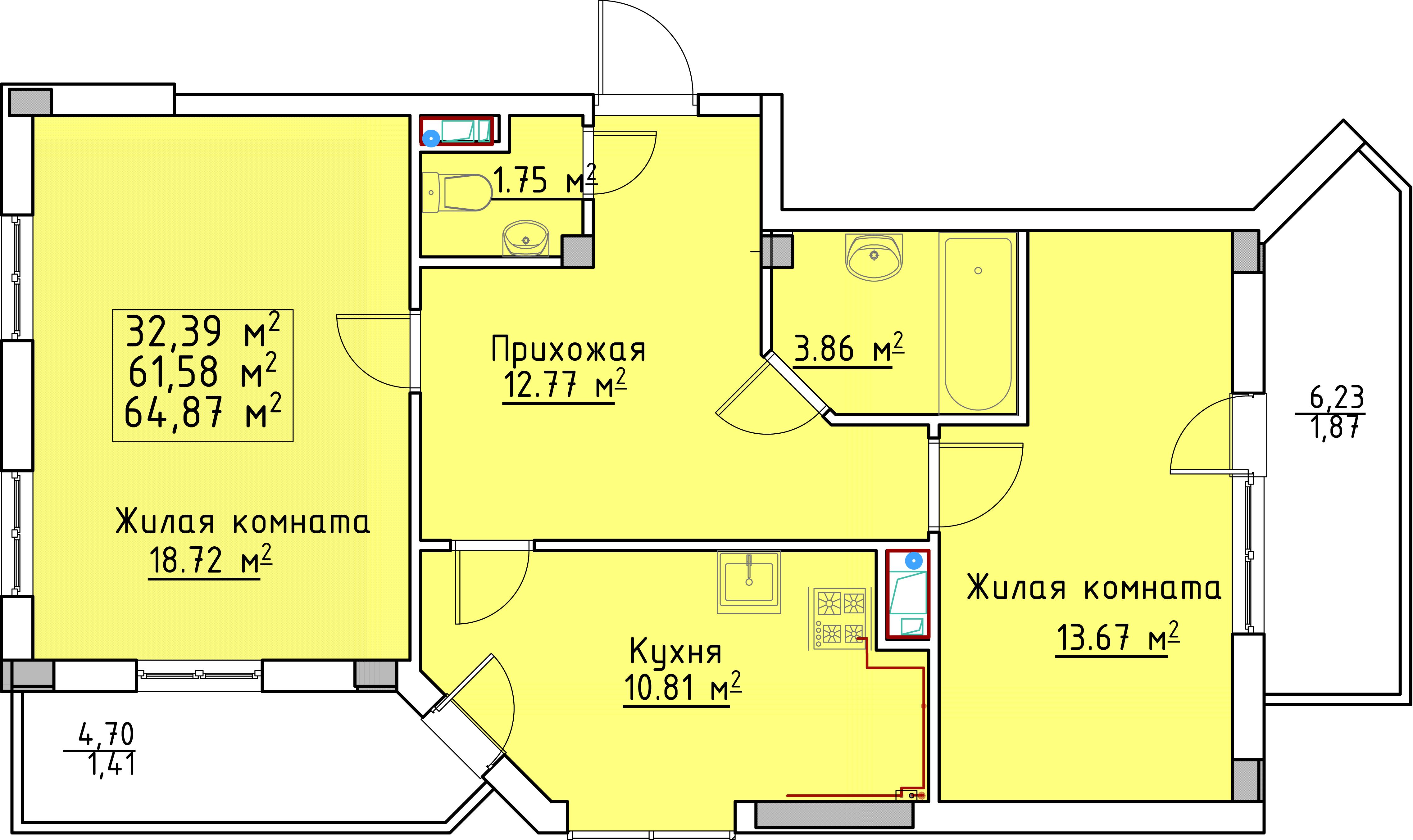Двухкомнатная - ЖК Мариинский$28371Площадь:65.22m²