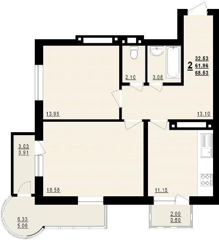 Двухкомнатная - ЖК Новый Маяк$44987Площадь:76.9m²