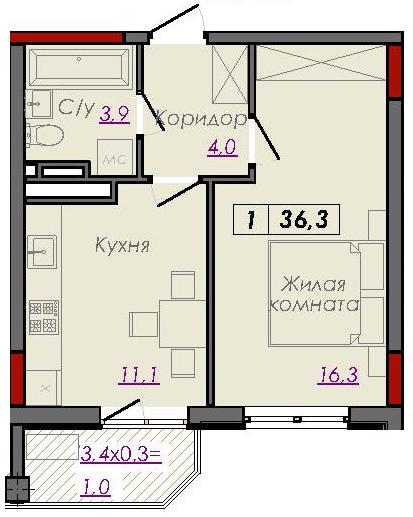 Однокомнатная - ЖК Монблан$32940Площадь:36.6m²