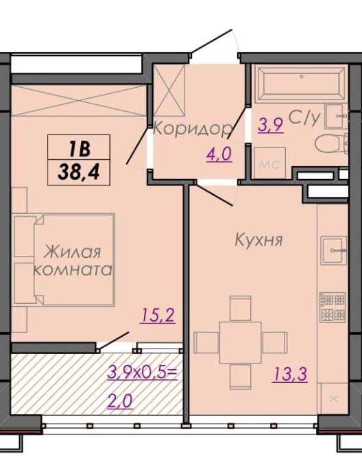 Однокомнатная - ЖК Монблан$38300Площадь:38.3m²