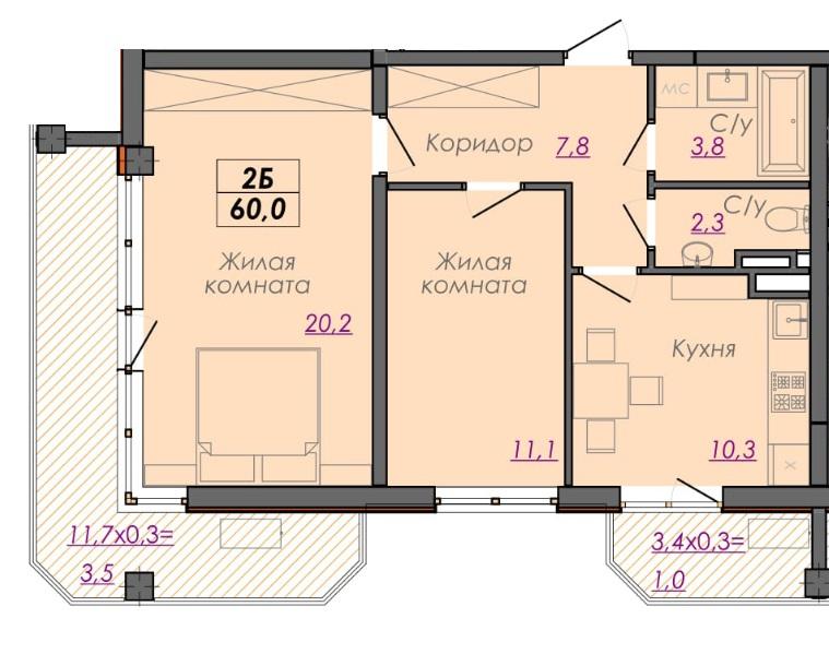 Двухкомнатная - ЖК Монблан$55614Площадь:59.8m²