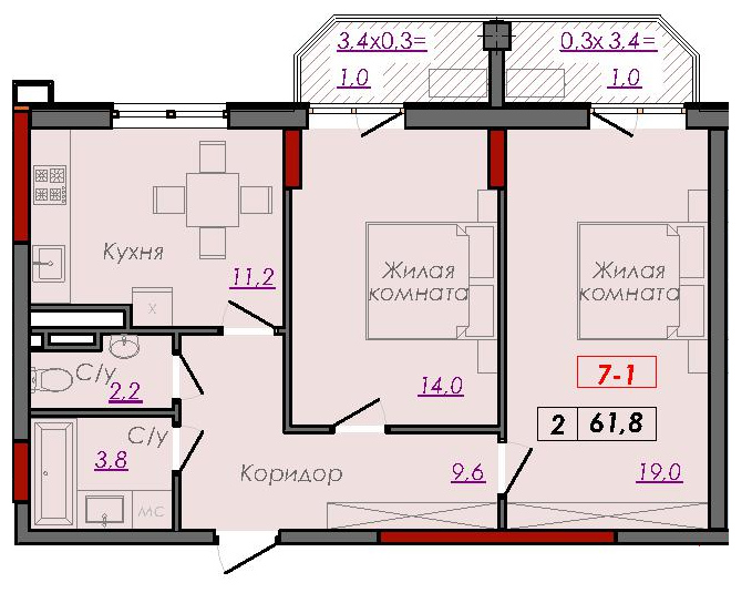 Двухкомнатная - ЖК Монблан$57753Площадь:62.1m²