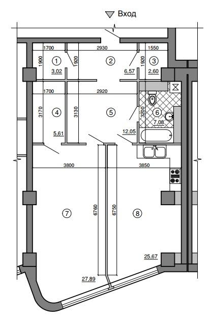 Однокомнатная - Морская симфония$139245Площадь:89.26m²
