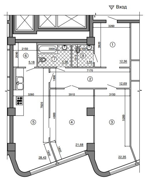 Двухкомнатная - Морская симфония$188445Площадь:110.85m²
