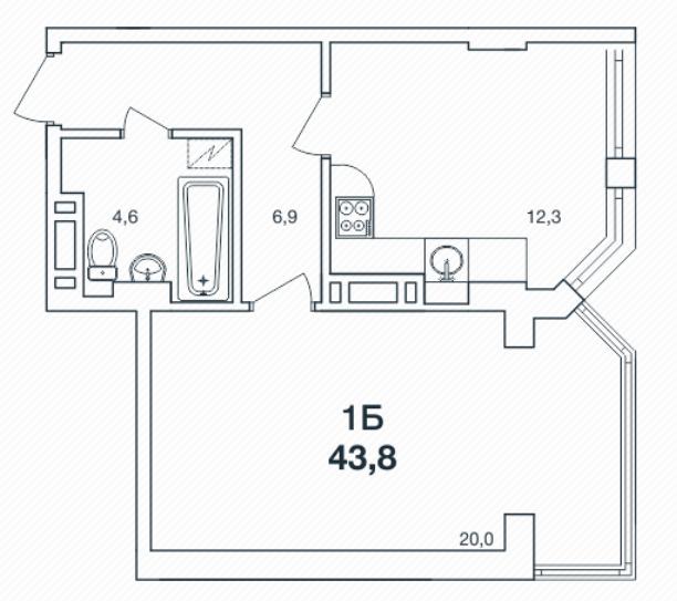 Однокомнатная - ЖК Новая Европа$22119Площадь:43.8m²