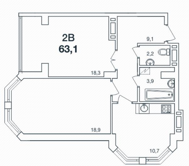 Двухкомнатная - ЖК Новая Европа$31550Площадь:63.1m²
