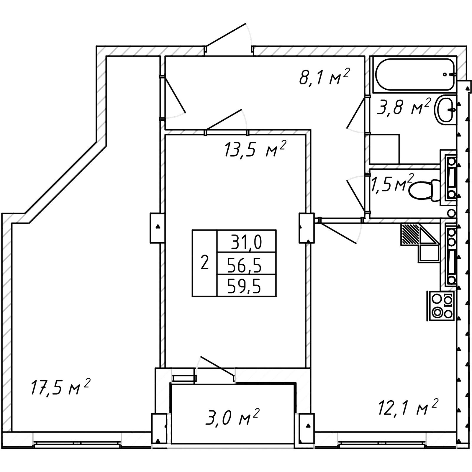 Двухкомнатная - Дом на Щорса$39325Площадь:60.5m²