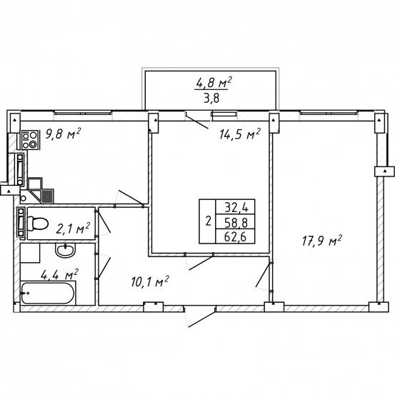 Двухкомнатная - Дом на Щорса$40950Площадь:63m²