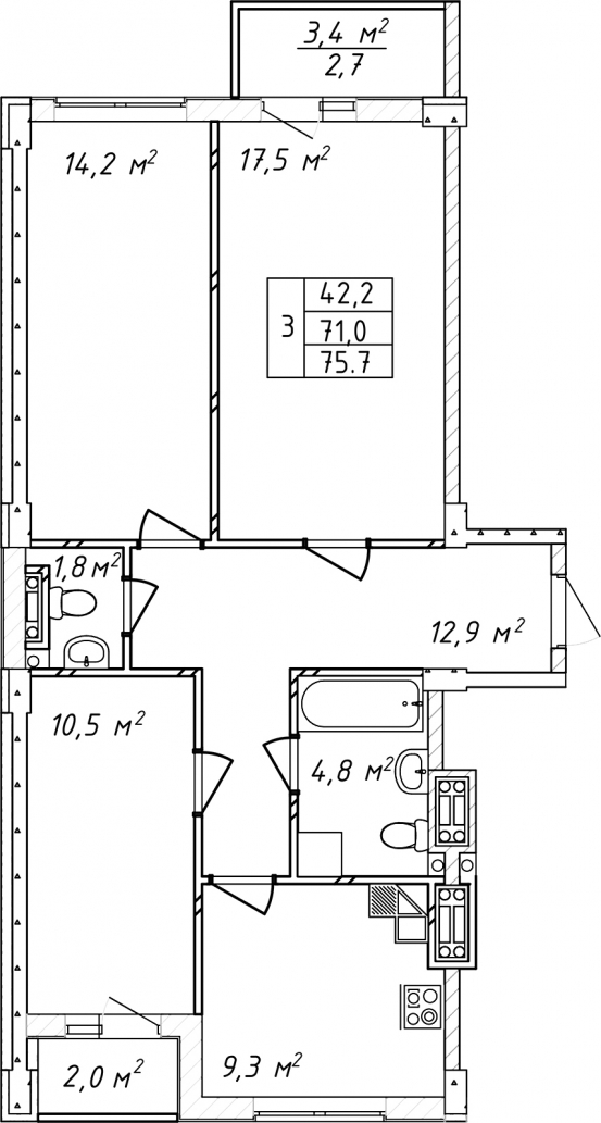 Трехкомнатная - Дом на Щорса$52164Площадь:75.6m²
