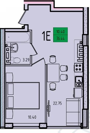 Однокомнатная - ЖК Приморские Сады$23659Площадь:37m²