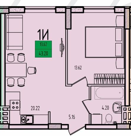 Однокомнатная - ЖК Приморские Сады$31088Площадь:42.88m²