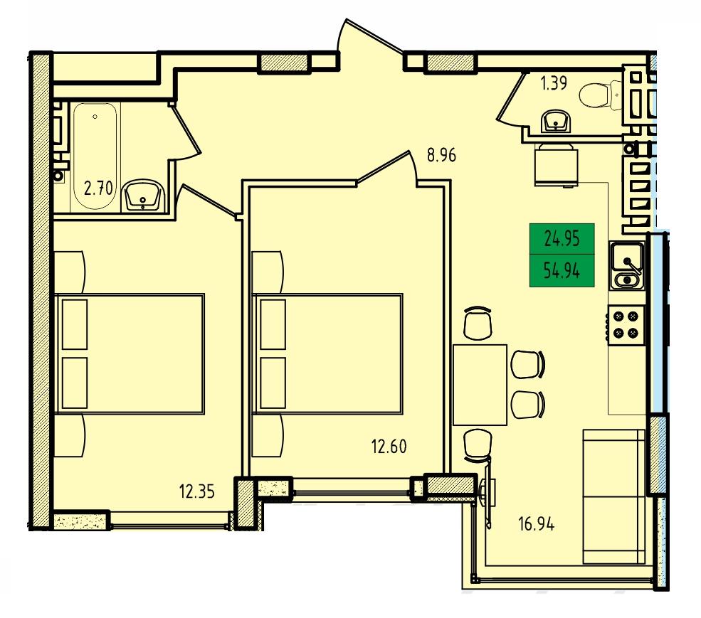 Двухкомнатная - ЖК Приморские Сады$37260Площадь:55.2m²