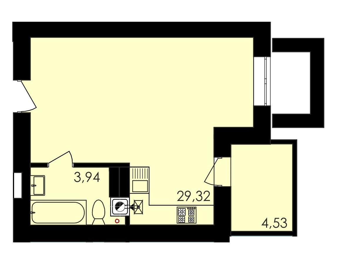 Однокомнатная - ЖК Ривьера Сити$26258Площадь:39.9m²