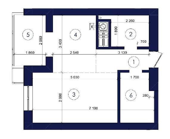 Однокомнатная - ЖК Ривьера Сити$28358Площадь:44.1m²