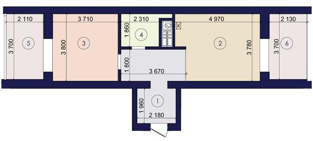 Двухкомнатная - ЖК Ривьера Сити$37267Площадь:65m²