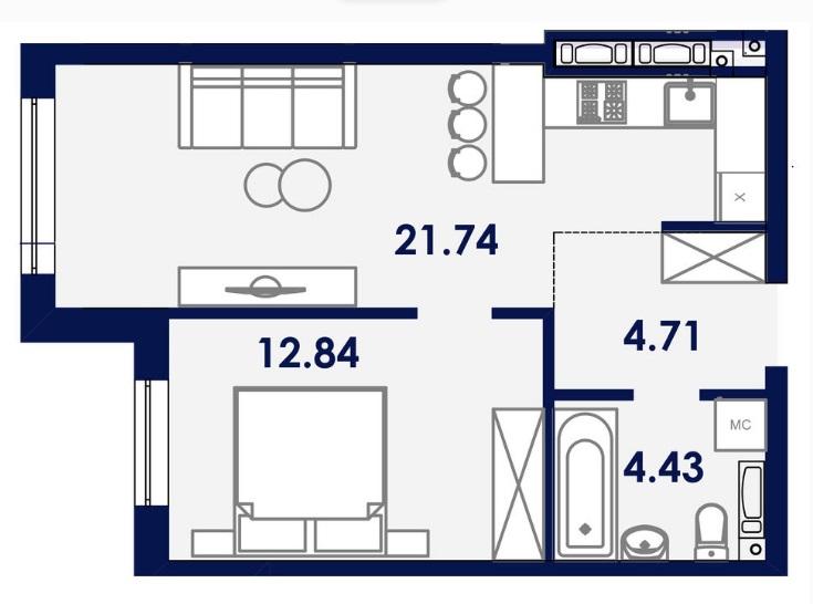 Однокомнатная - ЖК Ривьера Сити$24629Площадь:42.6m²