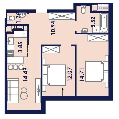 Двухкомнатная - ЖК Ривьера Сити$36712Площадь:63.5m²