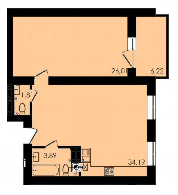 Двухкомнатная - ЖК Ривьера Сити$46484Площадь:70m²