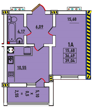 Однокомнатная - ЖК Радужный 2$29411Площадь:39.04m²