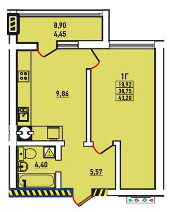 Однокомнатная - ЖК Радужный 2$32545Площадь:43.2m²