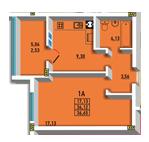 Однокомнатная - ЖК Радужный 2$22356Площадь:36.65m²