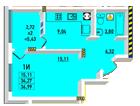 Однокомнатная - ЖК Радужный 2$22563Площадь:36.99m²