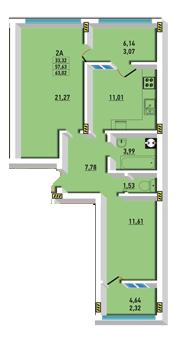 Двухкомнатная - ЖК Радужный 2$35897Площадь:63.02m²