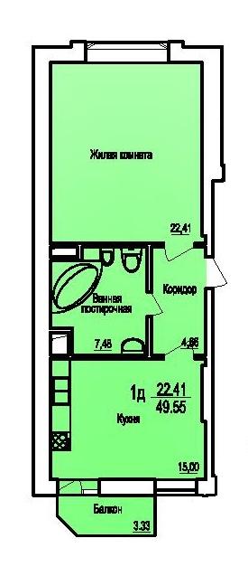 Однокомнатная - ЖК Поющий фонтан$44475Площадь:49.65m²