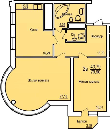 Двухкомнатная - ЖК Поющий фонтан$73456Площадь:79.9m²