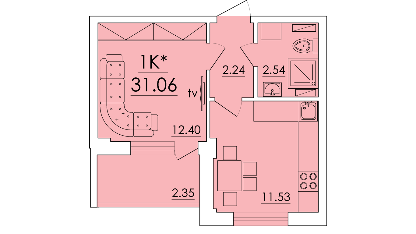 Однокомнатная - ЖК ECO Solaris (ЭКО Соларис)$23500Площадь:31.06m²